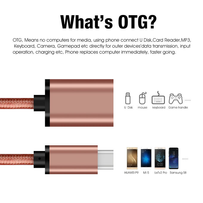 Shiny Pink 3.1 USB Type C Cable To 3.0 A Female 30 Cm For USB OTG Function